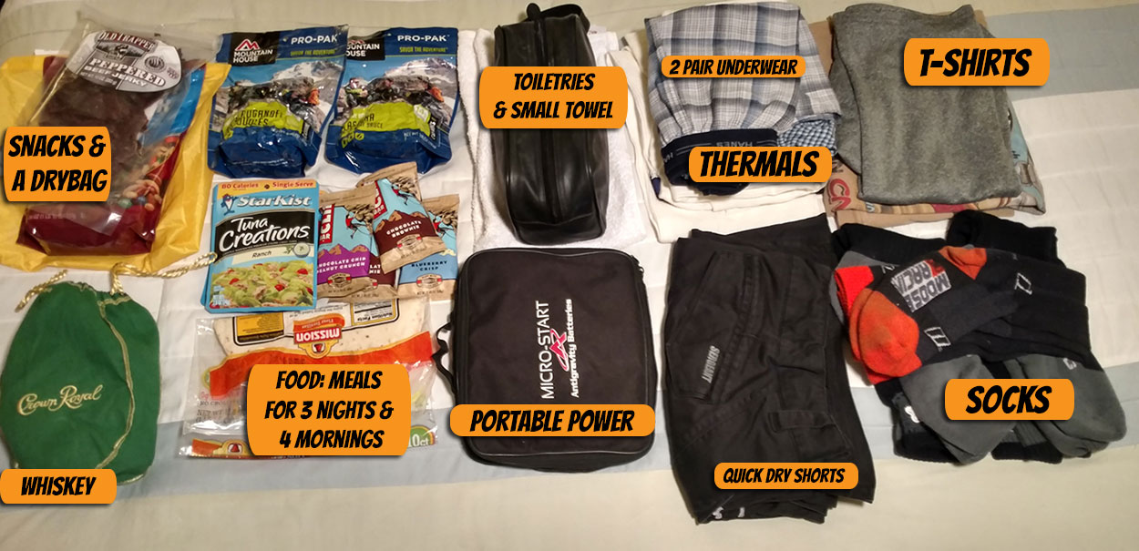 Everything Pictured Here Is What I Brought On My 4 Day 3 Night Idaho Adventure Ride Would Have Ditched The Heavy Trail Mix And Second Spare T Shirt
