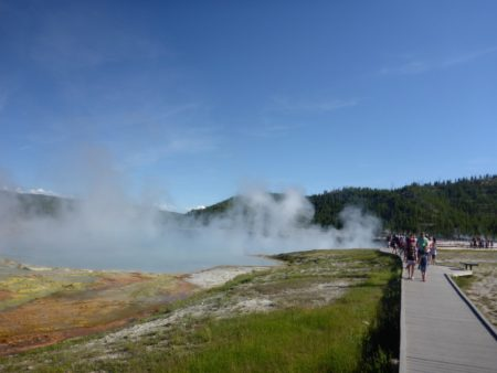 Walking up to Excelsior Geyser Crater