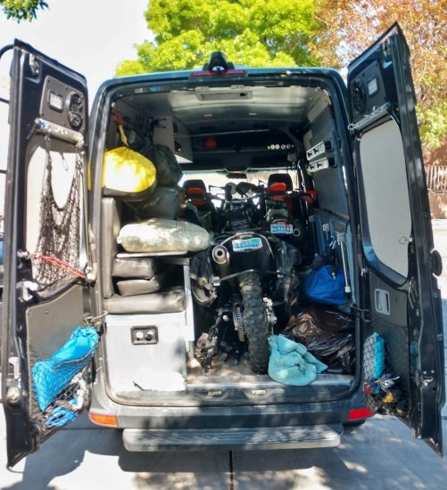 Sprinter Van packed to the gills with two motorcycles